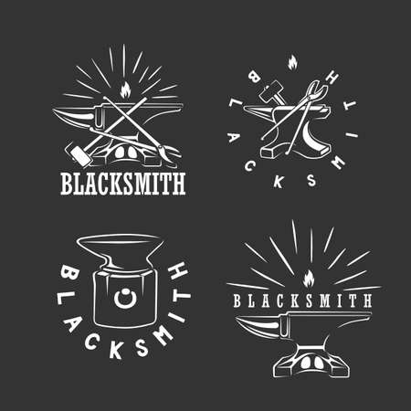 Set of vintage blacksmith labels, design elements. Vector illustration. Black and white vector object. Ilustracja