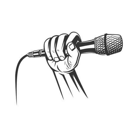 Hand holding a microphone in a fist. vector illustration Ilustracja