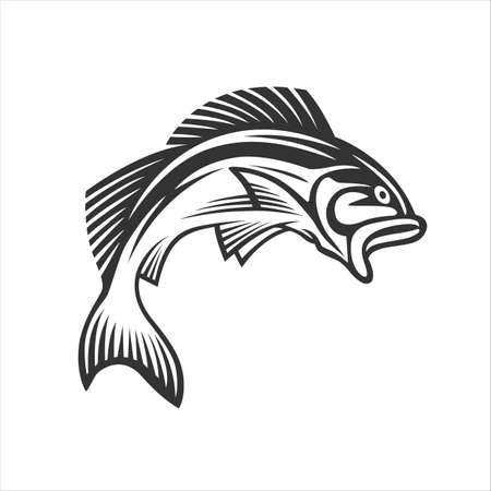 Monochrome illustration with a fish for design on a fishing theme.