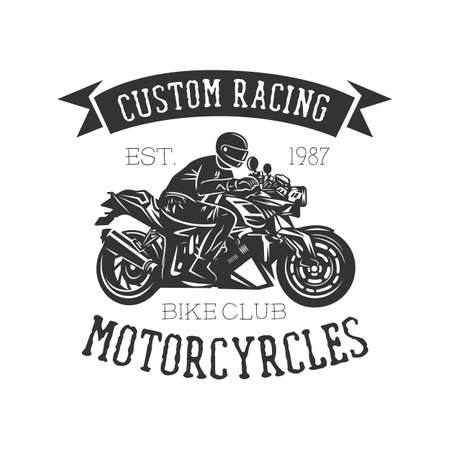 Logo of motorcycle, vintage illustration. Racing motorcycle illustration, design elements. Black and white vector illustration.