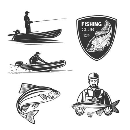 Monochrome illustration with a fisherman for design on a fishing theme.
