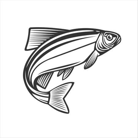 Monochrome illustration with a fish for design on a fishing theme. Zdjęcie Seryjne - 160529677