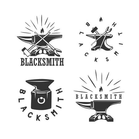 Set of vintage blacksmith labels and design elements. Vector illustration. Black and white vector object.