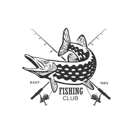 Monochrome illustration with a fish logo for design on a fishing theme. Zdjęcie Seryjne - 160529681