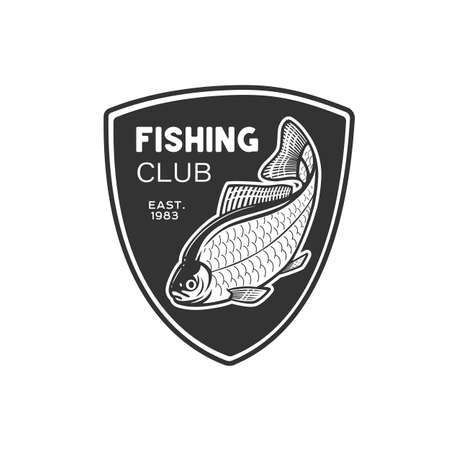 Monochrome illustration with a fish logo for design on a fishing theme. Zdjęcie Seryjne - 160529848