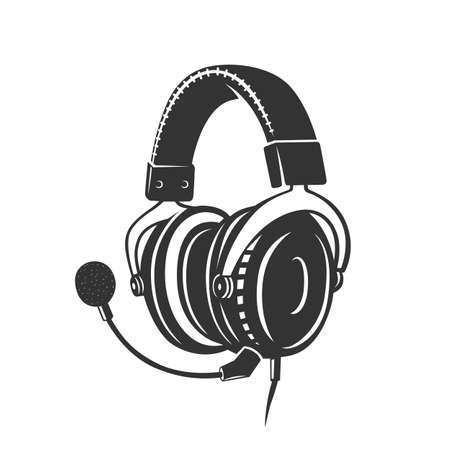 Headphone icon. Monochrome style. isolated on white background. Ilustracja