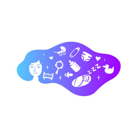 Mother child with cloud hair. Colorful vector illustration.