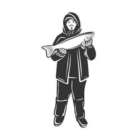 Monochrome illustration with a fisherman with a catch for design on a fishing theme.