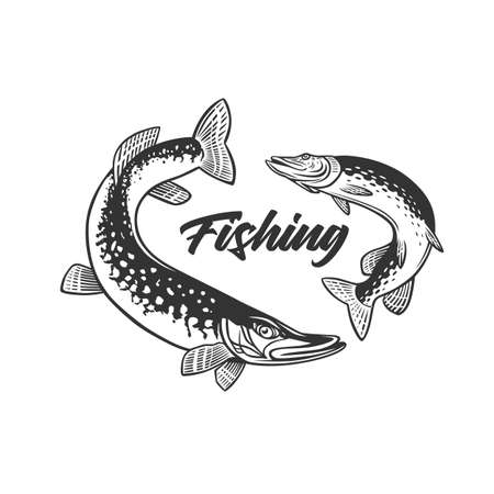 Monochrome illustration with a fish logo for design on a fishing theme. Zdjęcie Seryjne - 160530252