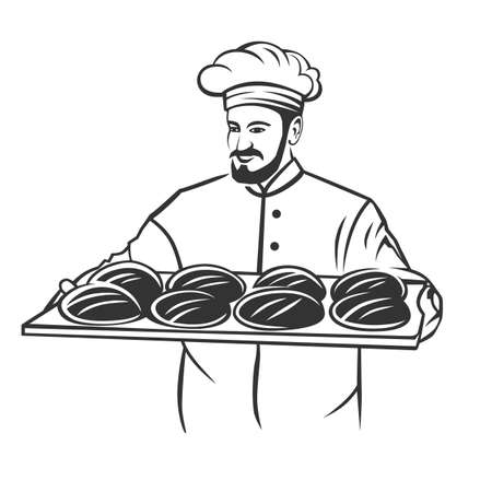 Baker man holding basket of breads. Black and white vector object.