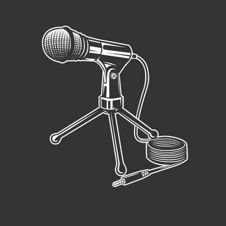 Microphone, vector icon isolated on black background. Microphone logo concept. Ilustracja