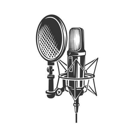 Podcast. Retro microphone isolated on white background. Design element for emblem, sign, logo, label. Vector illustration.