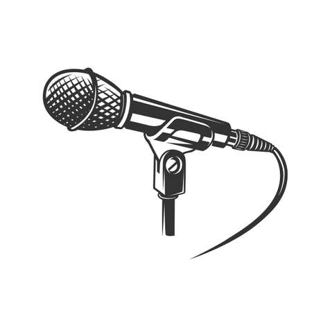 Microphone, vector icon isolated on white background. Microphone logo concept. Ilustracja