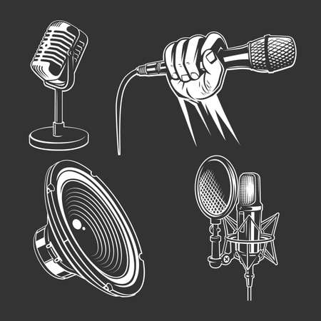 Set of karaoke singing freehand icons - retro microphone, podcast, hand with mic, singer, speaker.