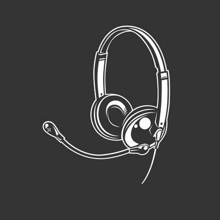Headphone icon. Monochrome style. isolated on black background. Ilustracja