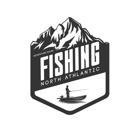 Monochrome illustration with a fishing logo for design on a fishing theme. Ilustracja