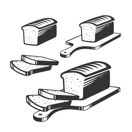 Sliced bread on a board. Cooking toast for breakfast. Bread on the cutting board. Vector illustration. Black and white vector objects. Ilustracja