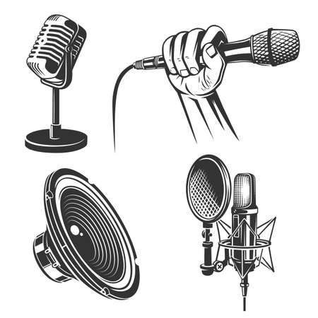 Set of karaoke singing freehand icons - retro microphone, podcast, hand with mic, singer, speaker. Zdjęcie Seryjne - 160530279