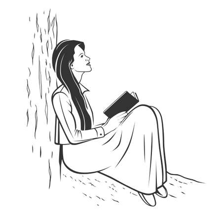 Monochrome illustrations of girls reading, hiding their faces behind their books - empty books to add your own text. Ilustracja