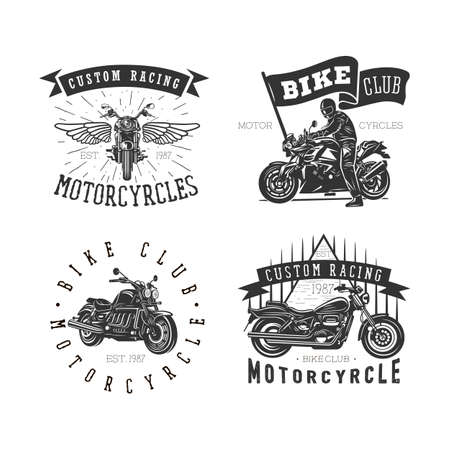 Logo of motorcycle, vintage illustration. Black and white vector illustrations.