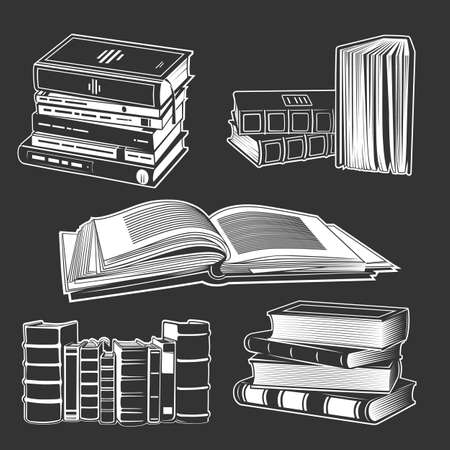 Set of books illustrations. Various books in vintage style. Hand-drawn vector design elements.