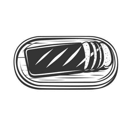 Sliced bread on a board. Cooking toast for breakfast. Bread on the cutting board. Vector illustration. Black and white vector object.