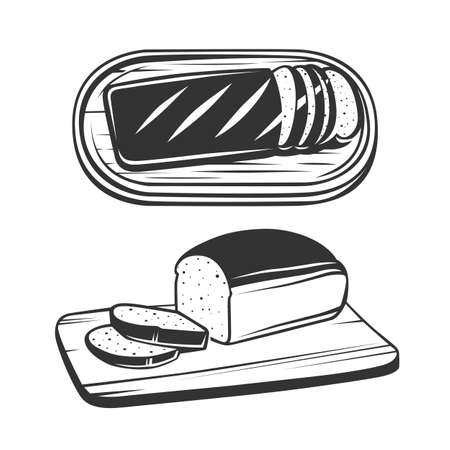 Sliced bread on a board. Cooking toast for breakfast. Bread on the cutting board. Vector illustration. Black and white vector objects. Ilustração