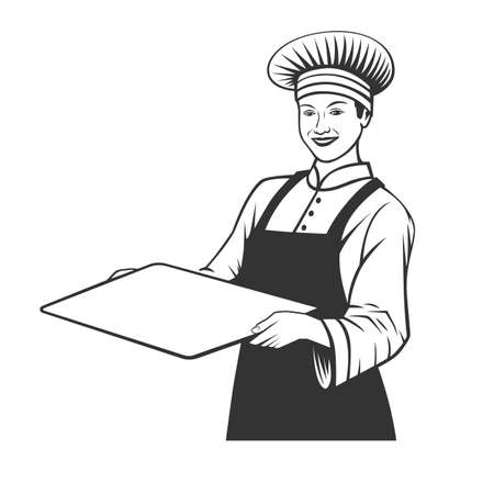Baker with a tray. Black and white vector objects. Zdjęcie Seryjne - 160530292