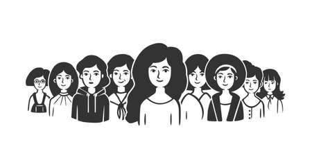 Community of women. Group of women standing shoulder to shoulder. Vector illustration. Black and white vector objects. Ilustracja