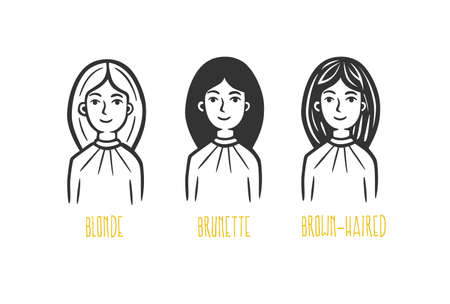 Various women: brunette, blonde, brown-haired. Vector illustration. Black and white vector objects.