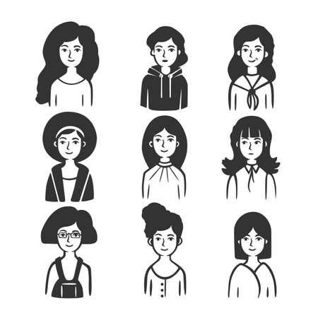 Set of different types of women. Vector illustration. Black and white vector objects.