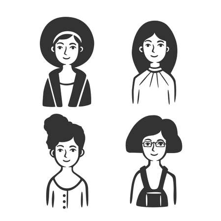 Set of different types of women. Vector illustration. Black and white vector objects. 版權商用圖片 - 164871617