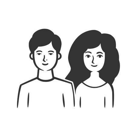 Couple, man and woman. Vector illustration. Black and white vector objects.