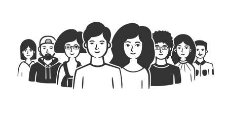 Group of people standing shoulder to shoulder. Vector illustration. Black and white vector objects.