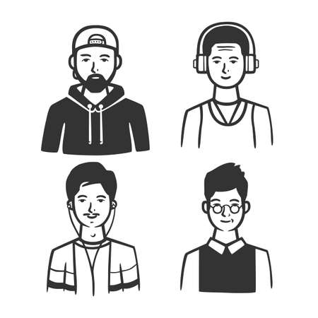 Set of different types of men. Vector illustration. Black and white vector objects.