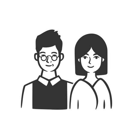 Couple, man and woman. Vector illustration. Black and white vector objects. 版權商用圖片 - 164871630