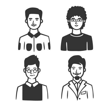 Set of different types of men. Vector illustration. Black and white vector objects. 版權商用圖片 - 164871634