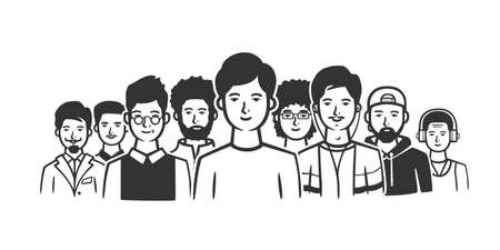 Group of men standing shoulder to shoulder. Black and white vector objects. 矢量图像