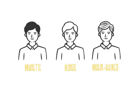 Various men: brunette, blonde, brown-haired. Vector illustration. Black and white vector objects.