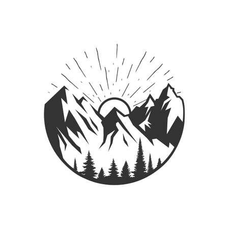 Monochrome illustration with a mountains logo on a white background.