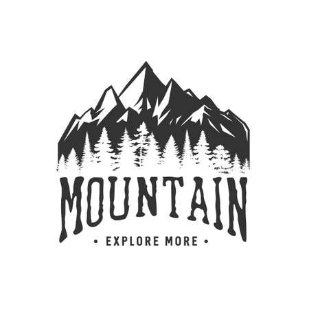 Monochrome illustration with a mountains on a white background. 矢量图像