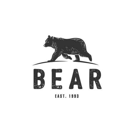Vector bear illustration. Black and white vector object.