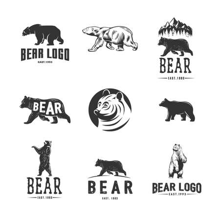 Monochrome illustration with a Bears on a white background.