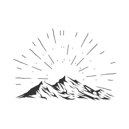 Vector illustration of mountain. Mountain in the rays of sunlight.