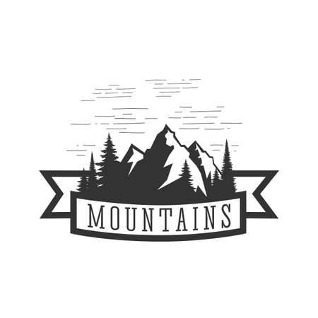Monochrome illustration with a mountains on a white background. 向量圖像