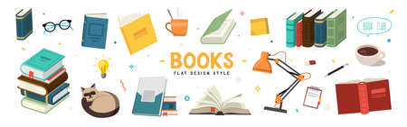 Set of color illustrations with books on white background. 向量圖像