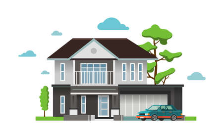 Color illustration with house on white background. 版權商用圖片 - 168052676