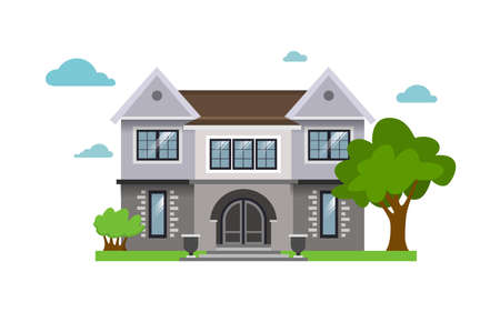 Color illustration with house on white background.