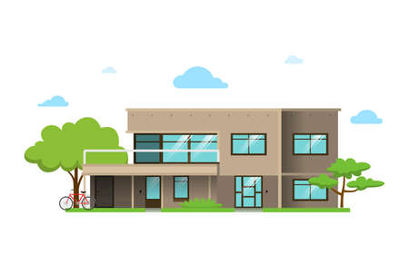 Color illustration with house on white background. 版權商用圖片 - 168052679