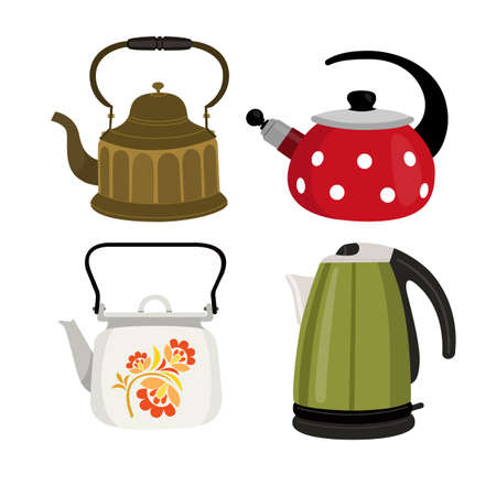 Set of color illustrations with teapots on white background. 矢量图像